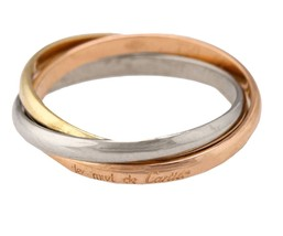 Cartier 18K 750 White, Yellow, & Pink Gold Trinity Rolling Band Ring Size: 51 - $595.95