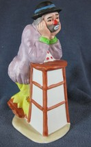 Emmett Kelly Jr Flambro Figurine Leaning On Tall Stool with Chin In Hands - $17.97