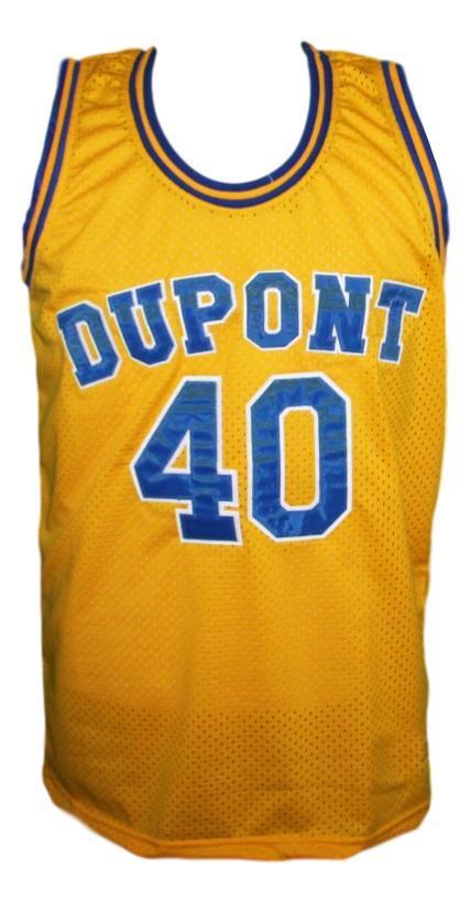 Randy moss  40 dupont high school basketball jersey yellow   1
