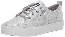 Sperry Girls Crest Vibe Sneaker, Silver Perforated, 4 M US Big Kid - £23.72 GBP
