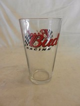 """Budweiser Bud Racing Beer Pint Glass Clear with Logo 5.75"""" tall - $14.85"""