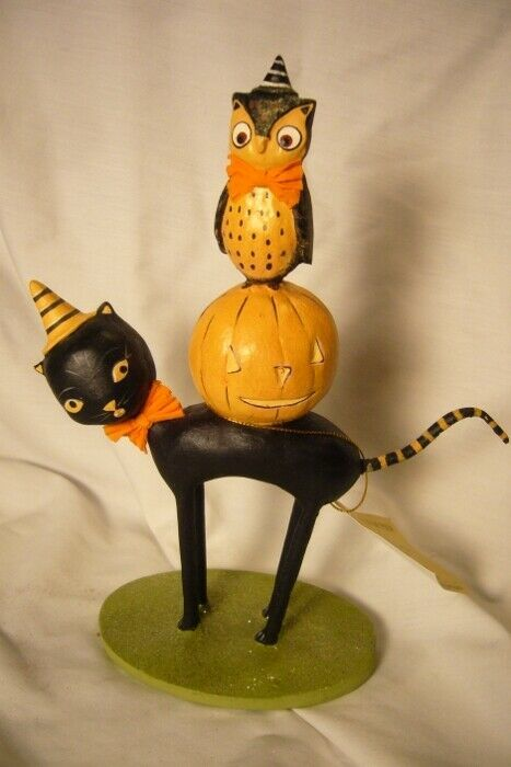 Bethany Lowe Kitten Around Owl & Pumpkin Last one!