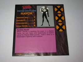 1992 Uncanny X-Men Alert! Board Game Piece: Havok Player Stat Card - $1.00