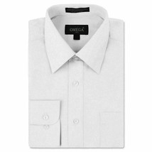 Omega Italy Men's Long Sleeve Button Up Regular Fit Solid White Dress Shirt M