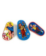 Set of 3 Colorful Metal Toy Vintage Tin Noise Maker / Clown / Mariachi Band - $19.79