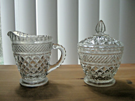 Anchor Hocking Wexford Glass Sugar Bowl with Lid & Cream Pitcher - $23.27
