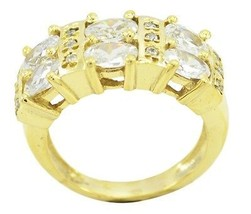 fine White CZ Gold Plated White Ring jewellery US gift - €16,91 EUR