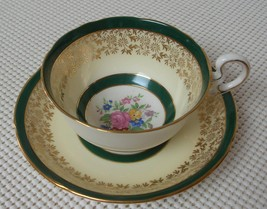 Royal Grafton China TEA CUP & SAUCER Dark Green Cream Edge & Floral Center #1 - $23.27