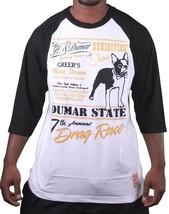Hawke & Dumar Mens Drag Race Baseball Black White Raglan T-Shirt NWT