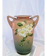 Vintage Roseville White Rose Pink Vase 988-10 1940 Excellent Condition! - $173.25