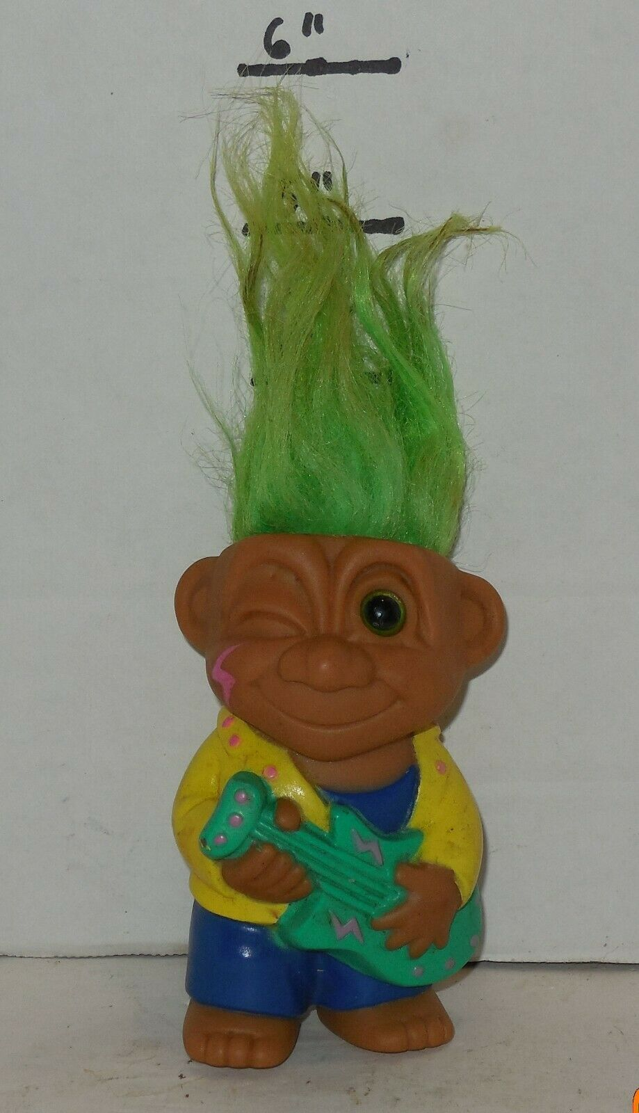 "Primary image for Vintage My Lucky Russ Berrie Troll 4"" PVC Figure Green Hair Yellow Jacket"