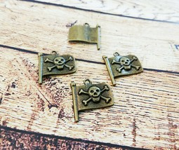 4 Skull and Crossbones Charms Antiqued Bronze Pirate Flag Pendants Gothic - $2.99