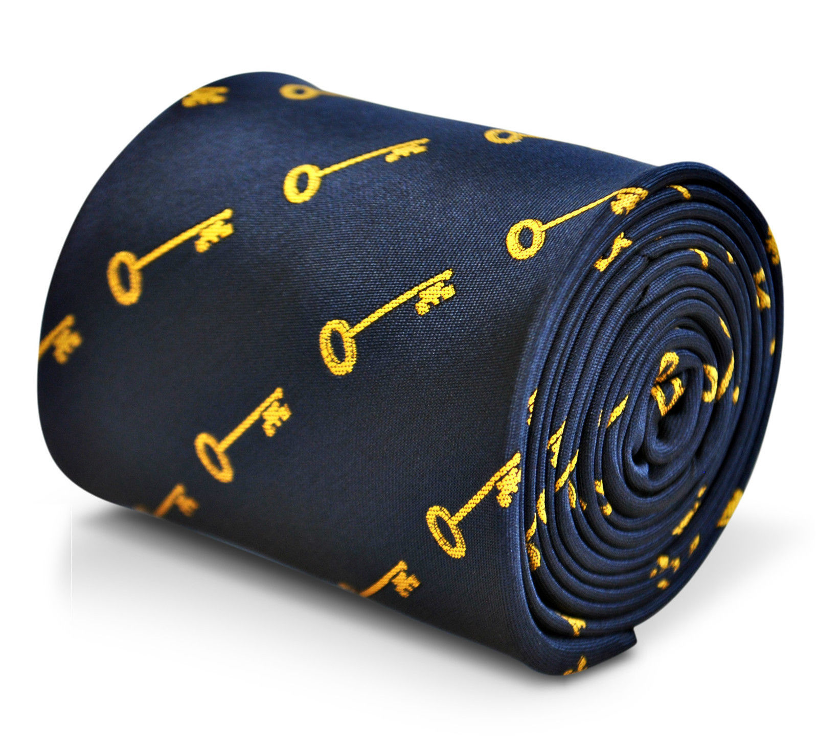 BLU NAVY CRAVATTA da uomo WITH GOLD CHIAVE motivo da Frederick Thomas ft3231