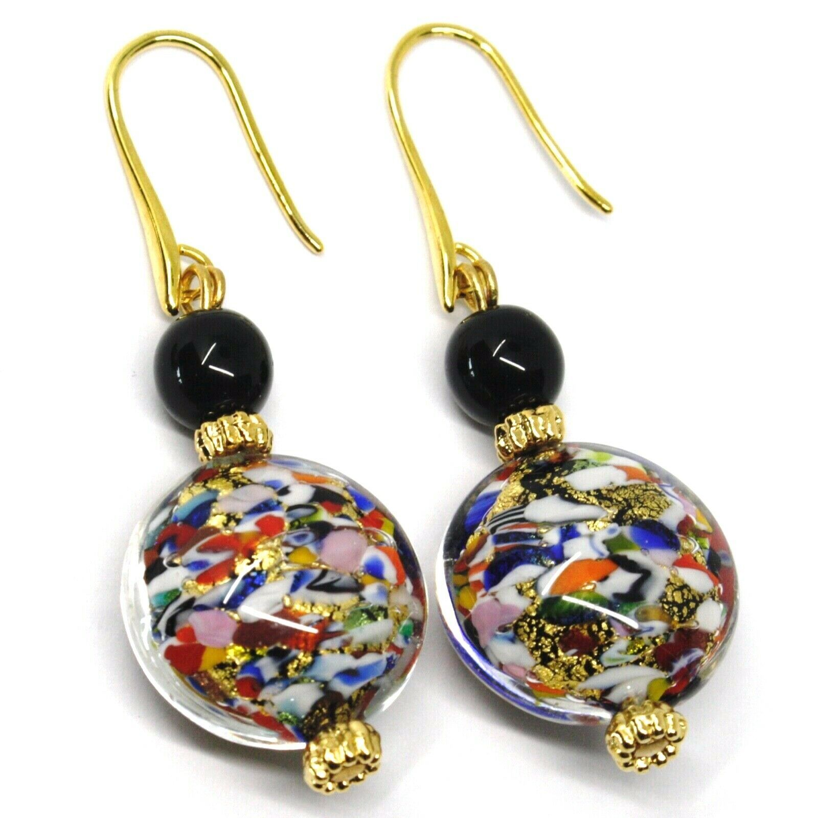 PENDANT EARRINGS MACULATE MULTI COLOR MURANO GLASS DISC, GOLD LEAF, ITALY