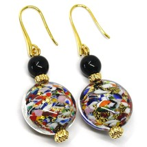 PENDANT EARRINGS MACULATE MULTI COLOR MURANO GLASS DISC, GOLD LEAF, ITALY image 1