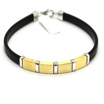 SILVER 925 BRACELET RHODIUM PLATED AND LAMINATED YELLOW GOLD WITH RUBBER... - $69.03
