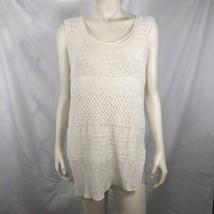 Helmut Lang Top Large L Ivory White Open Knit Tank Shirt Blouse Sleeveless - $30.59