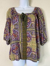 Live And Let Live Womens Size M Multicolor Boho Blouse Short Sleeve - $12.57