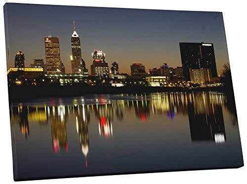 "Primary image for Pingo World 0726QYF0B9A ""Indianapolis Night Skyline"" Gallery Wrapped Canvas Wall"