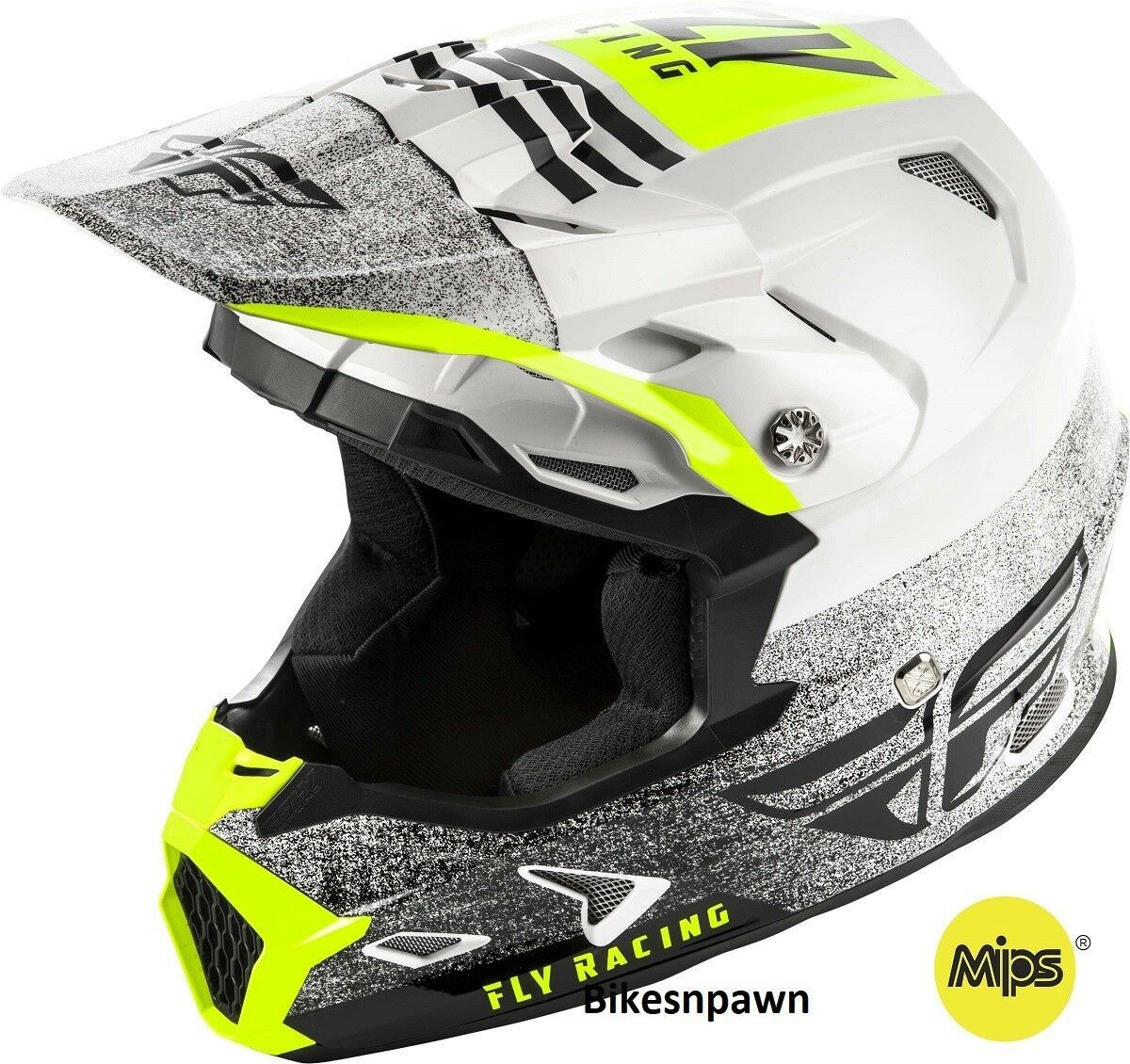 New L Adult Fly Racing Toxin MIPS Embargo White/Black Motocross Off Road Helmet