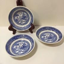 """3 Fruit Desert Bowls Bowl Blue Willow Homer Laughlin 5.25"""" C64N4 - $15.47"""