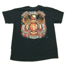 343 FIREFIGHTER Shirt Size L Large Black Short Sleeve Sacrifice Honor Courage - $14.03