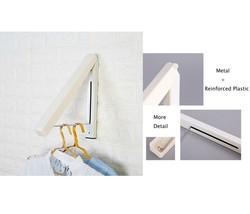 Folding Clothes Hanger Wall Mounted Retractable Rack Durable Sturdy Meta... - £10.58 GBP