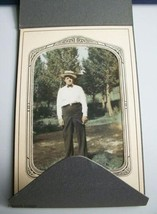 Antique Photograph Gentleman in Straw Hat and Bow Tie Smoking - $14.99