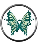 Beautiful Butterfly Ovarian Cancer Teal Ribbon Support Awareness Believe... - $5.83