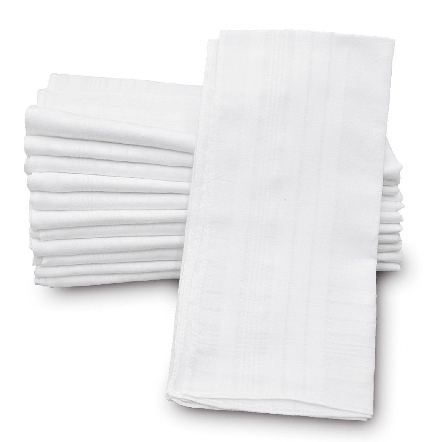 """Classic Mens Handkerchiefs 100% Cotton Solid White with Stripe 17"""" Large 12pc"""