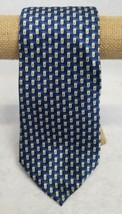 Adolfo Men's Tie Blue Beige Rectangles Geometric Wide Silk 57 Inches  - $16.63