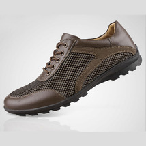 Shoes Fashion Leather Mesh Merkmak Breathable Sneakers Casual Men Summer Genuine qSxvA0T