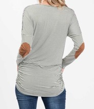 Olive Striped Top, Green Pinstripe Shirt, Long Sleeve Striped Top, Lace Details image 3