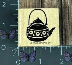 Stampin' Up! Rose Teapot Kettle Rubber Stamp 2000 Wood Mount #Y129 - $3.22