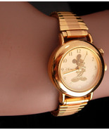 Vintage golden mickey watch - raised relief gold mouse - Hadley Roma - S... - $85.00