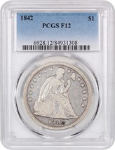1842 $1 PCGS F12 - Low Mintage Date - Liberty Seated Dollar - Low Mintag... - $480.15