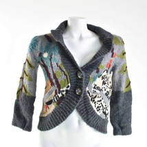 Anthropologie Leifsdottir Knit Big Button Fuzzy Trees XS Cardigan Sweater - $69.29