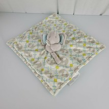 Blankets & Beyond Gray Blue Green Elephant Security Blanket Pacifier Hol... - $35.63