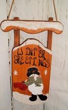 Vtg Sled Snowman Wood Wall Decoration Christmas Holiday Winter Greeting ... - $16.95