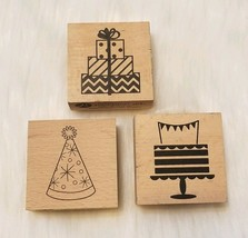 Hampton Art BIRTHDAY Hat Gift Cake Wood Mounted Rubber Stamps ▪Lot of 3 - $5.14