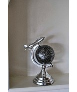 Metal Vintage Silver Black Aeroplane Table Top Rotating Home Deco World ... - $94.41