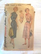 """Simplicity 4189 Vtg 1950's Women's Dress Bolero Jacket SZ 16  Bust 34"""" - $10.00"""