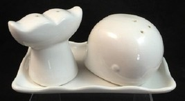 Great White Whale Salt & Pepper Shaker Set With Tray Port Philip Sea Sho... - $23.36