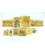 Lot of 10 Halloween Mounted Rubber Wooden Stamps - $26.15