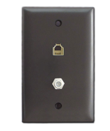 Trademaster Wall Plate Brown 1-F Coax Connector Phone Gang TPTELTV - Box... - $28.40