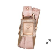 Michael Kors Watch Isadore Rose Gold -Tone Pink LeatherNIB - $148.49
