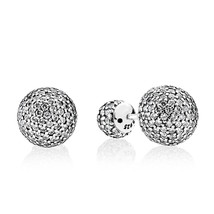 925 Sterling Silver Pavé Drops with Clear CZ Earrings QJCB1101 - $26.68