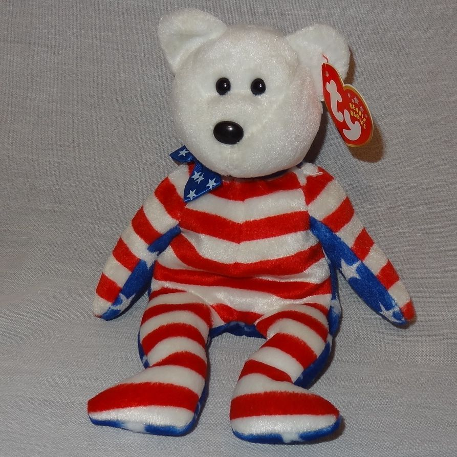 "Liberty White Bear Ty Beanie Baby Plush Stuffed Animal Toy 2002 Red Blue 9"""