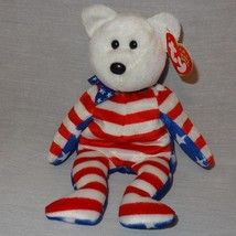 "Liberty White Bear Ty Beanie Baby Plush Stuffed Animal Toy 2002 Red Blue 9"" - $9.99"