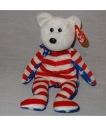 "Liberty White Bear Ty Beanie Baby Plush Stuffed Animal Toy 2002 Red Blue 9"" - $9.99"
